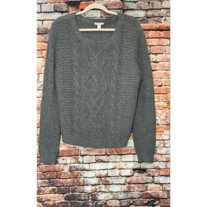 Caslon Gray Sweater Cable Knit Angora Wool Blend
